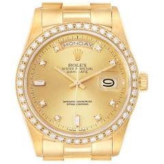 Rolex President Day Date Yellow Gold Diamond Men's Watch 18348