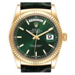 Rolex President Day-Date Yellow Gold Green Dial Mens Watch 118138 Box Card