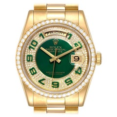 Rolex President Day Date Yellow Gold Green Enamel Diamond Men's Watch 118348