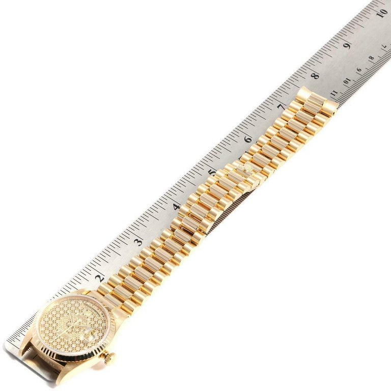 Rolex President Day-Date Yellow Gold Honeycomb Diamond Dial Watch 18238 For Sale 6