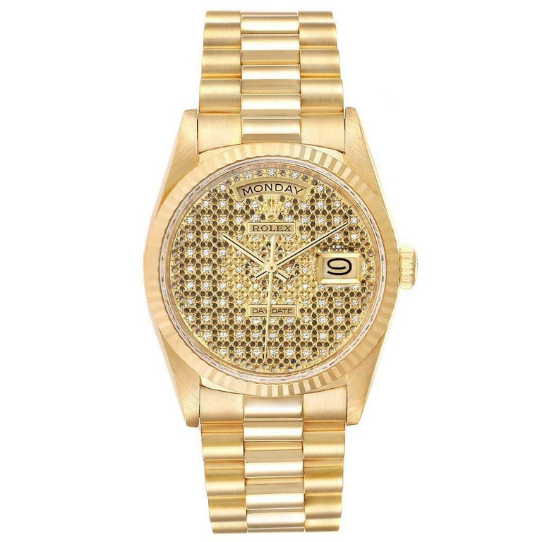 Rolex President Day-Date Yellow Gold Honeycomb Diamond Dial Watch 18238. Officially certified chronometer automatic self-winding movement. 18k yellow gold oyster case 36.0 mm in diameter. Rolex logo on a crown. 18K yellow gold fluted bezel. Scratch