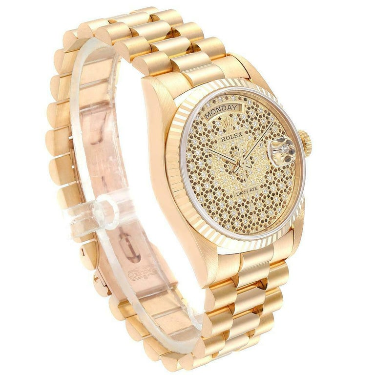 Rolex President Day-Date Yellow Gold Honeycomb Diamond Dial Watch 18238 In Excellent Condition For Sale In Atlanta, GA