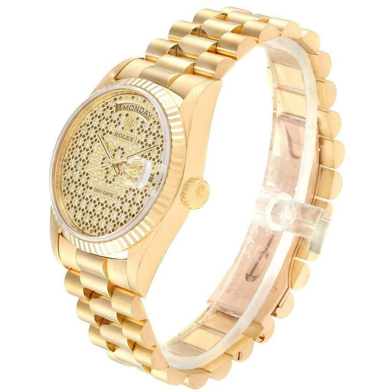 Men's Rolex President Day-Date Yellow Gold Honeycomb Diamond Dial Watch 18238 For Sale
