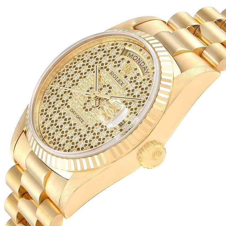 Rolex President Day-Date Yellow Gold Honeycomb Diamond Dial Watch 18238 For Sale 1