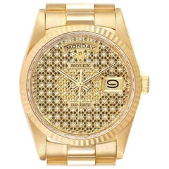 Rolex President Day-Date Yellow Gold Honeycomb Diamond Dial Watch 18238