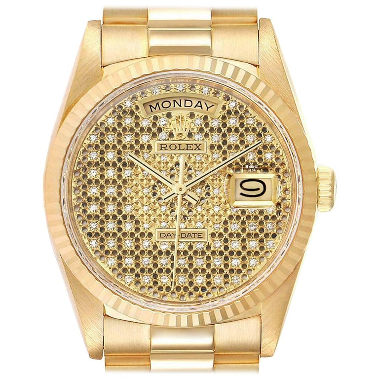 Rolex President Day-Date Yellow Gold Honeycomb Diamond Dial Watch 18238 For Sale