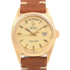 Rolex President Day-Date Yellow Gold Linen Dial Vintage Men's Watch 1803