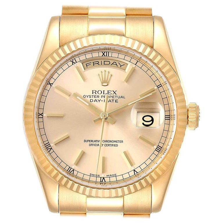 Rolex President Day Date Yellow Gold Men's Watch 118238 For Sale