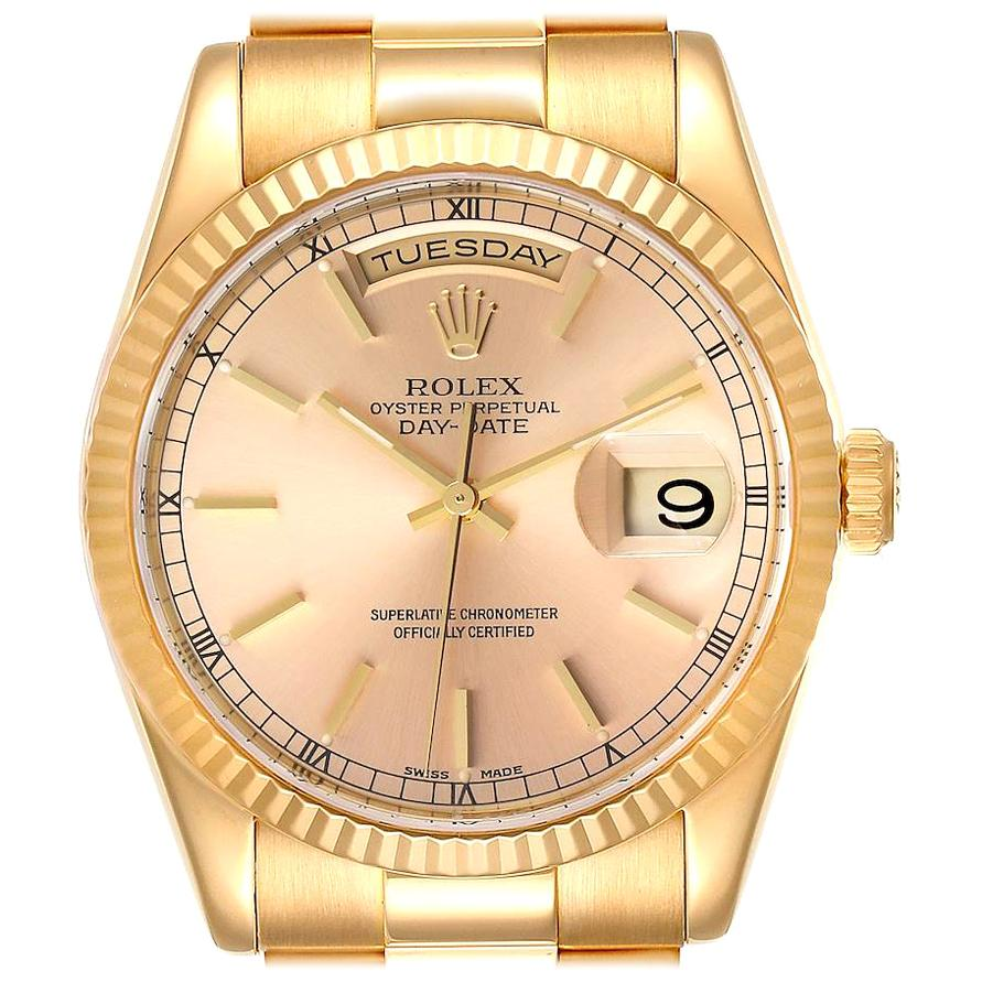 Rolex President Day Date Yellow Gold Men's Watch 118238