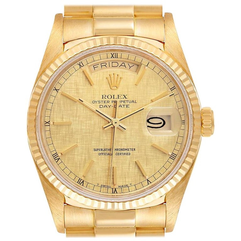 Rolex President Day-Date Yellow Gold Men's Watch 18038 For Sale