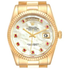 Rolex President Day Date Yellow Gold MOP Rubies Men's Watch 118238 Box Papers