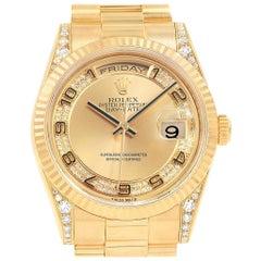 Rolex President Day-Date Yellow Gold Myriad Diamond Men's Watch 118388
