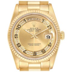 Rolex President Day-Date Yellow Gold Myriad Diamond Men's Watch 18238 Box Papers