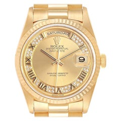Rolex President Day-Date Yellow Gold Myriad Diamond Men's Watch 18238