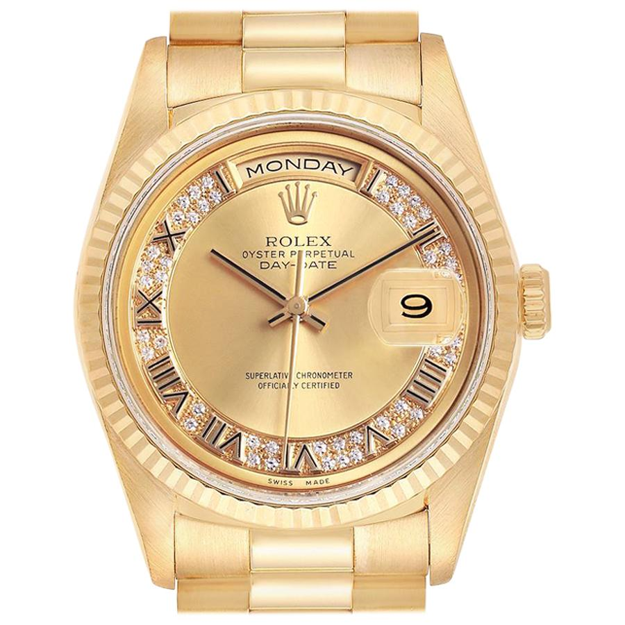 Rolex President Day-Date Yellow Gold Myriad Diamond Men's Watch 18238