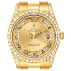 Rolex President Day-Date Yellow Gold Myriad Diamond Men's Watch 18388