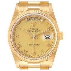 Rolex President Day-Date Yellow Gold Roman Dial Men's Watch 18238