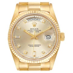 Rolex President Day-Date Yellow Gold Silver Dial Men's Watch 18038 Box