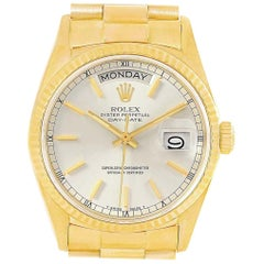 Rolex President Day-Date Yellow Gold Silver Dial Men's Watch 18038