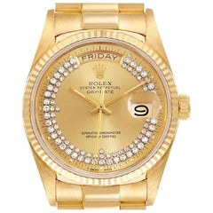 Rolex President Day-Date Yellow Gold String Diamond Dial Mens Watch 18038
