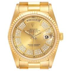 Rolex President Day-Date Yellow Gold String Diamond Dial Men's Watch 18238