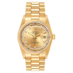 Rolex President Day-Date Yellow Gold String Diamond Dial Men's Watch 18238
