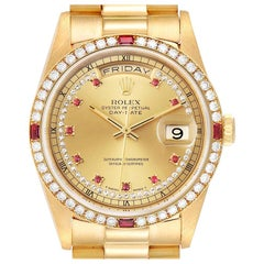Rolex President Day-Date Yellow Gold String Diamond Ruby Dial Watch 18378