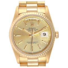 Rolex President Day-Date Yellow Gold Tapestry Dial Men's Watch 18238