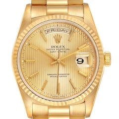 Rolex President Day-Date Yellow Gold Tapestry Dial Mens Watch 18238