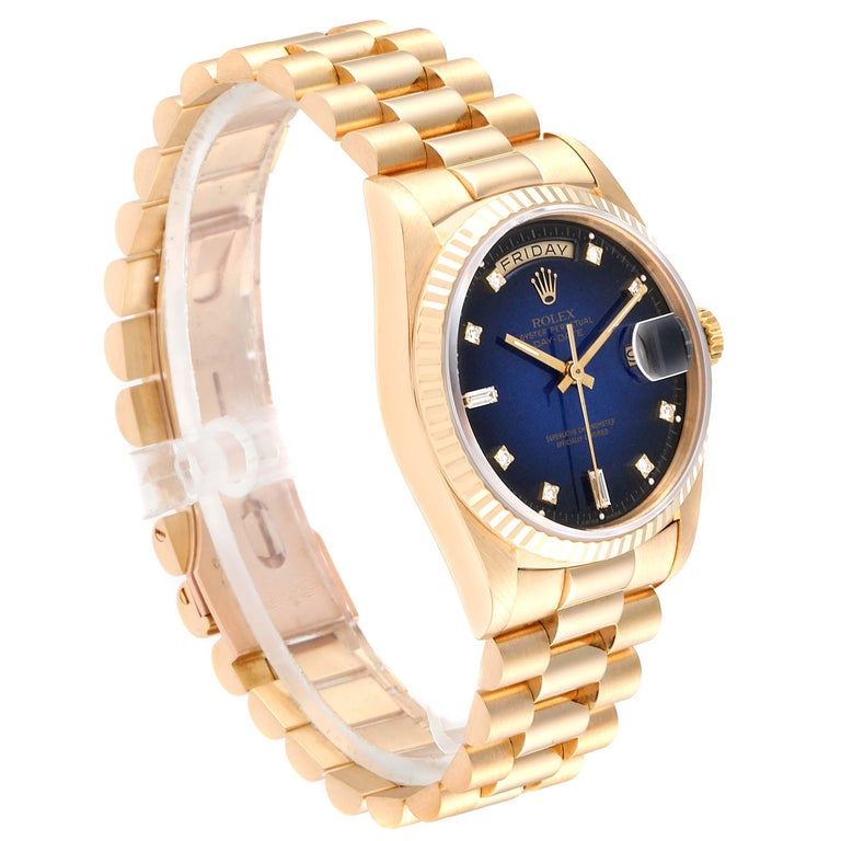 Rolex President Day-Date Yellow Gold Vignette Diamond Men's Watch 18238 In Excellent Condition For Sale In Atlanta, GA