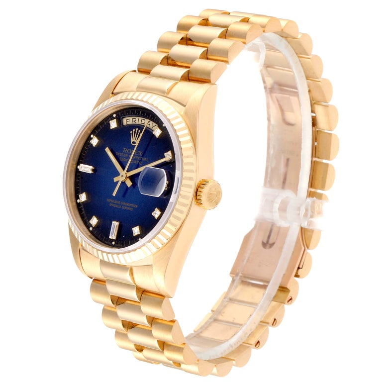 Rolex President Day-Date Yellow Gold Vignette Diamond Men's Watch 18238 For Sale 1