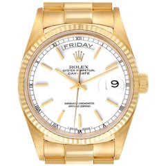 Rolex President Day-Date Yellow Gold White Dial Mens Watch 18038