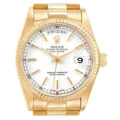 Rolex President Day-Date Yellow Gold White Dial Men's Watch 18038