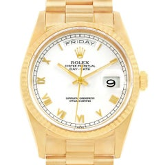Rolex President Day-Date Yellow Gold White Dial Men's Watch 18238