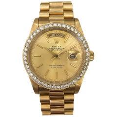 Rolex President Daydate Diamond Bezel 18 Karat Yellow Gold #18038