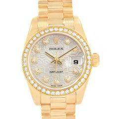 Rolex President Ladies 18 Karat Gold Mother of Pearl Diamond Watch 179138