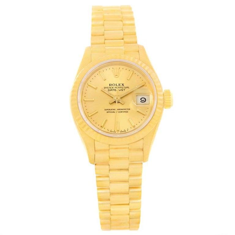 rolex president ladies 18 karat yellow gold champagne dial. Black Bedroom Furniture Sets. Home Design Ideas