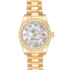 Rolex President Ladies 18k Yellow Gold MOP Diamond Ladies Watch 179138