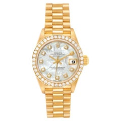 Rolex President Ladies 18k Yellow Gold MOP Diamond Ladies Watch 79138