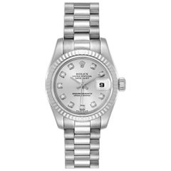 Rolex President Ladies White Gold Diamond Ladies Watch 179179 Box Papers