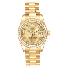 Rolex President Ladies Yellow Gold Myriad Diamond Ladies Watch 179138