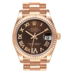 Rolex President Midsize Rose Gold Chocolate Diamond Watch 279165 Unworn