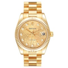 Rolex President Midsize Yellow Gold Diamond Ladies Watch 178278 Box Card