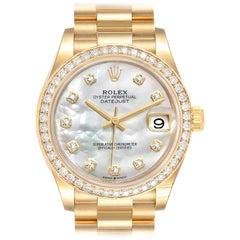 Rolex President Midsize Yellow Gold Diamond Ladies Watch 278288 Unworn