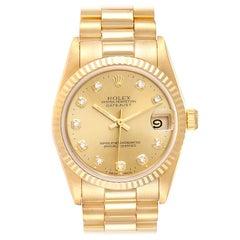 Rolex President Midsize Yellow Gold Diamond Ladies Watch 68278 Box Papers