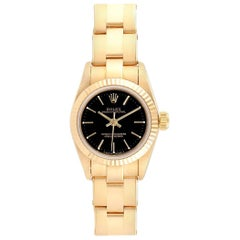 Rolex President No-Date Yellow Gold Black Dial Ladies Watch 67198
