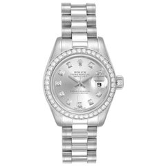 Rolex President Platinum Diamond Ladies Watch 179136 Box Papers