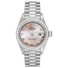 Rolex President Platinum MOP Dial Diamond Ladies Watch 69136 Papers