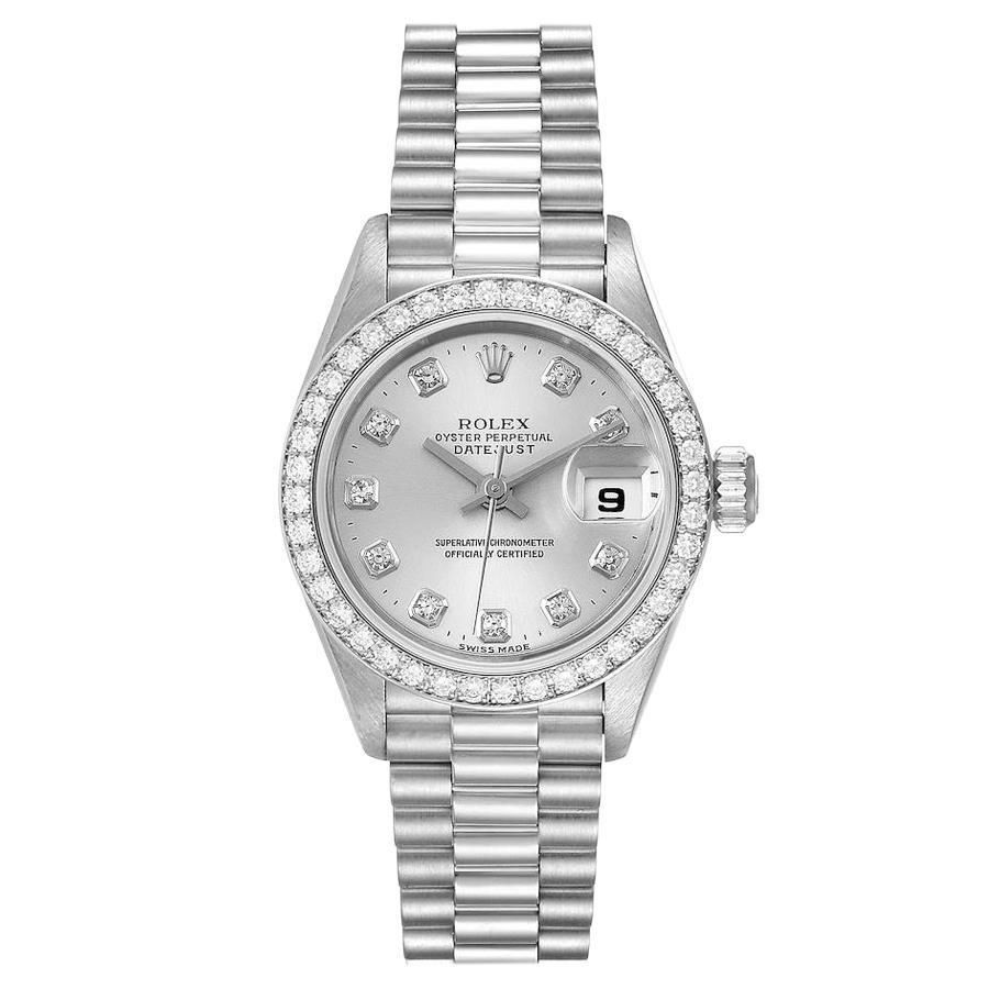 Rolex President Platinum Silver Diamond Dial Ladies Watch 69136