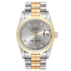 Rolex President Tridor 31 Midsize White Yellow Rose Diamond Watch 68279